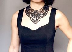 black lace bib necklace   hand dyed // vintage lace by LaceFancy