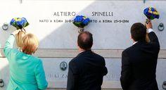 Merkel, Hollande y Renzi en la tumba de Altiero Spinelli, considerado uno de los…