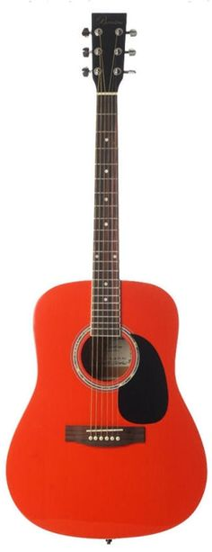 Barcelona Beginner Series 41-Inch Full-Size Dreadnought Acoustic Guitar - Red. Ideal for beginning musicians. Rosewood fretboard and bridge. Stainless diecast tuning pegs.