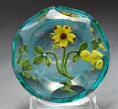 Perthshire Paperweights 1999 yellow and pink flower
