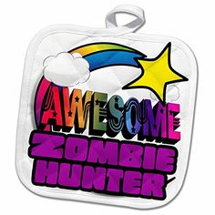 3dRose Dooni Designs Funky Awesome Designs  Shooting Star Rainbow Awesome Zombie Hunter  8x8 Potholder phl_201458_1 *** Learn more by visiting the image link.Note:It is affiliate link to Amazon. #ZombieWorld
