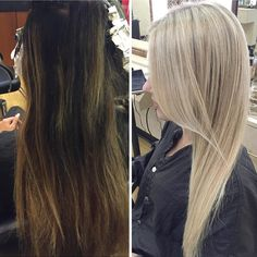Hard to believe this is the same person. In the spring my Client started to go blonde after having colored her hair brown for years. With patience and @olaplex she is now a full ash blonde!! Her hair is shinyer and healthier than before! #blondetakespatience