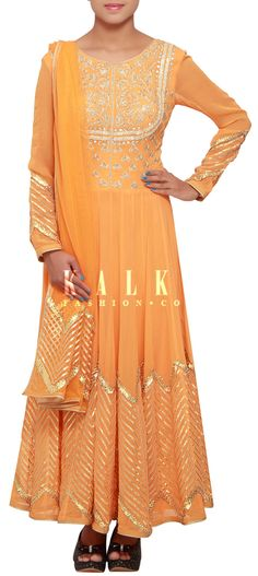 Buy Online from the link below. We ship worldwide (Free Shipping over US$100) http://www.kalkifashion.com/orange-anarkali-suit-adorn-in-gotta-patti-lace-and-pearl-embroidery-only-on-kalki.html