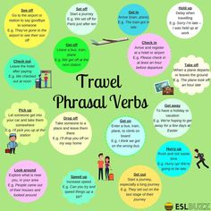 Travel Phrasal Verbs and Expressions in English - ESL Buzz by alfreda English Verbs, Learn English Grammar, English Vocabulary Words, English Phrases, Grammar And Vocabulary, English Fun, English Language Learning, English Writing, English Study