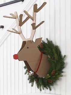 Cardboard Reindeer.  Free printable templates with instructions