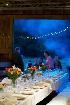 Evening barn wedding.