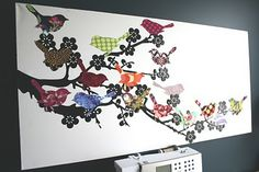 Chasing Cottons: Fabric scraps = Bird wall art