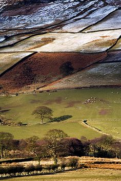 Winter Sunlight Plays on Fields in Farndale North York Moors National Park England