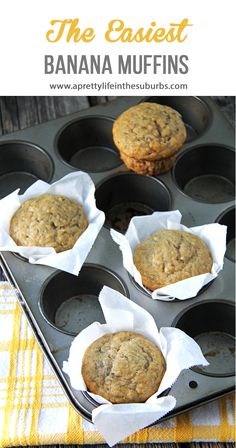 The Easiest Banana Muffin Recipe. Simple ingredients, 2 bowls, and you can mix everything by hand! Makes moist and delicious muffins! Cranberry Muffins, Muffins Blueberry, Banana Nut Muffins, Banana Fruit, Zucchini Muffins, Banana Muffin Recipe Easy, Make Banana Bread, Banana Recipes, Recipes For Old Bananas