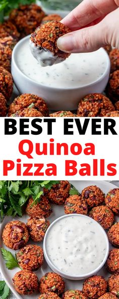 These are the BEST EVER Quinoa Pizza Balls with Yogurt Ranch Dip. They make a tasty snack, appetizer, or meal! Vegan and gluten-free!