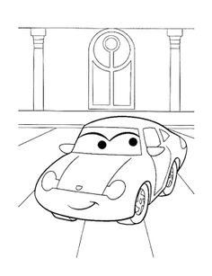 Beautiful Cartoon Car Coloring Page