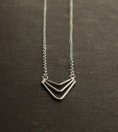 Chevron Arrow Necklace  Sterling Silver by SDMarieJewelry on Etsy, $42.00   #shopumbabox #handmade