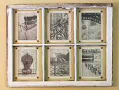 Photos printed on dictionary pages and hung with upholstery tacks behind an old window frame. See the tutorial. #DIY.