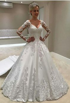 ball gown long sleeves wedding dresses, affordable court train bridal dresses, elegant satin wedding dress with sleeves