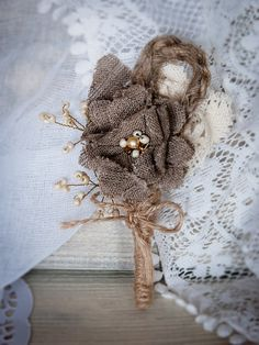 fall burlap boutonniere | Rustic Chic boutonniere with handmade burlap by RusticBeachChic