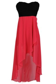 Danica High Low Strapless Dress in Black/Pink    www.lilyboutique.com