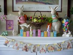 Easter Mantel Design love this pennant flab banner