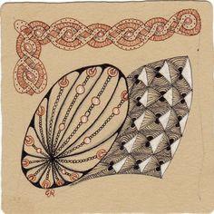 Ein Zentangle aus den Mustern Signalz, Twistle, Fleurette, Danglez gezeichnet von Ela Rieger, CZT