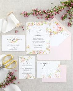 Pink Floral Wedding Invitation with Watercolor Romantic