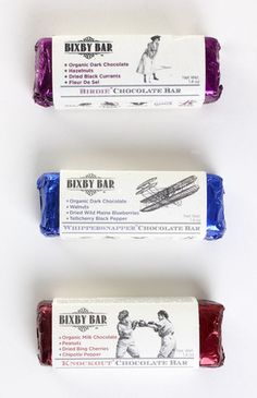 Whole food and organic candy bar by Bixby & Co. 20's #design.