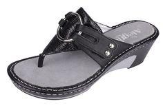 Alegria Lola Black Reptile Sandal - now on closeout! | Alegria Shoe Shop