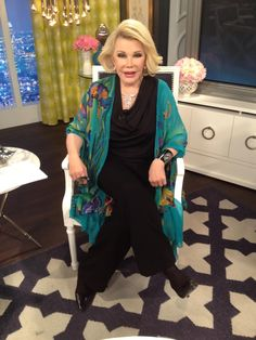 What Joan Rivers wore on March 9.   DRESS: Joan Rivers Classics Collection and Theory  JEWELRY: Carrera y Carrera and Vanessa Mooney at Lindsay Lou  BLAZER: LSO for Linda Stokes