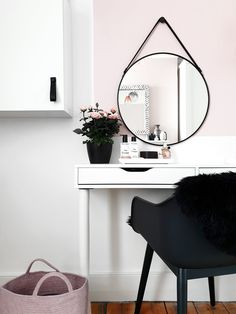 Blush and black dressing table created with Ikea wall shelf unit and legs from Pretty Pegs. Ikea Wall Shelves, Wall Shelf With Drawer, Black Dressing Tables, Black Chest Of Drawers, Floating Table, Floating Shelves, Ikea Ekby, Wood Table Legs, Ikea Mirror