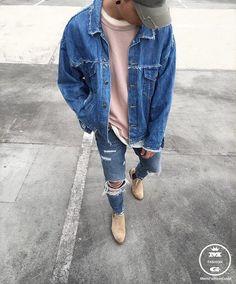 Mens Fashion Hipster – The World of Mens Fashion Double Denim, Mode Streetwear, Streetwear Fashion, Urban Fashion, Daily Fashion, Botas Chelsea, Chelsea Boots, Der Gentleman, Mode Jeans