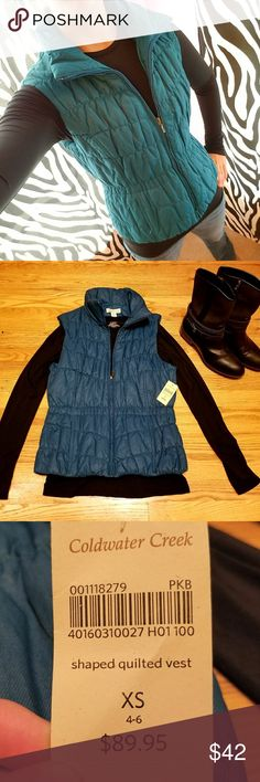 Coldwater Creek 💙Shaped Quilted Vest Sz XS Blue Brand new with tags never worn. NO DEFECTS. Purchased it the Spring but just never worn it. Coldwater Creek Jackets & Coats Vests