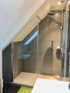 bathroom under stairs decor / bathroom under stairs Attic Shower, Small Attic Bathroom, Bathroom Under Stairs, Loft Bathroom, Upstairs Bathrooms, Rustic Bathrooms, Understairs Bathroom, Vanity Bathroom, Budget Bathroom