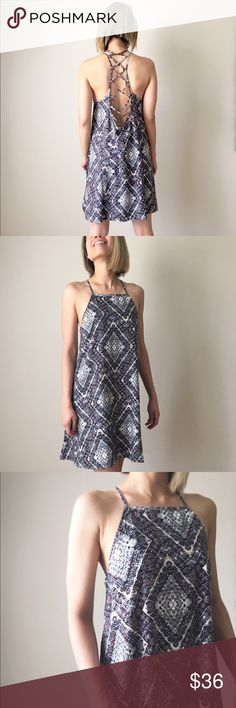 TRIBECA halter lace up dress Earthy black boho luxe dress. Open low back . Tie up. Well made with top quality breathable Rayon.Adjustable tie back level. The dress comes with lining.non sheer.  Measurement from length,bust and waist. Almost backless. Think free people. Bohemian luxe CHICBOMB Dresses Backless