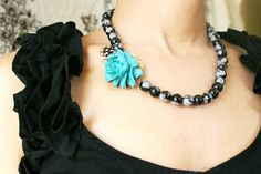 Turquoise Teal Rose Necklace, black and white polka dot feather necklace, Turquoise Rose Necklace