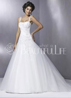 $320.99  Alluring Spaghetti Straps Satin #A-Line #Wedding #Dress With Sleeveless Sweep Beading Embellishment