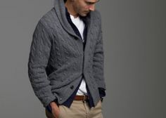 Layered look with cable cardigan this is how a man wears a cardigan... Take note