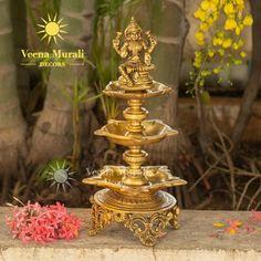 Brass Diyas, Diya Lamp, Silver Pooja Items, Diy Diwali Decorations, Pooja Room Door Design, Traditional Lamps, Rangoli Border Designs, Puja Room, Antique Decor