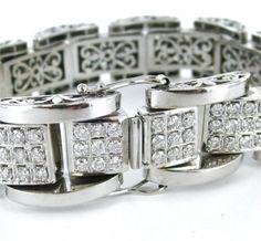 HEAVY 14K WHITE GOLD APRX. 11 CARATS TOTAL - CONTAINING 201 DIAMONDS BRACELET