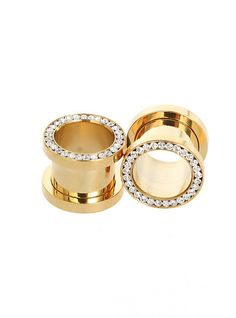Morbid Metals Gold Bling Eyelet Plugs | Hot Topic