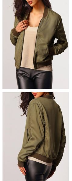 Spring 2016 Fashion - Green Coat with Green Blouse and Black Skinnies.| green fashion | m.shein.com