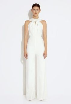 Image 1 of AQ/AQ Heavenly Twisted Front Jumpsuit - Cream Bridal Jumpsuit, Jumpsuit Dress, Jumpsuit Elegante, Cream Jumpsuit, Wide Trousers, Overall, White Fashion, Classy Outfits, The Dress