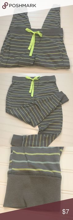 Women's Lounge or Sleep Pants Cute and comfy women's lounge or pajama pants. Grey in color with yellow & blue stripes. Elastic tie waist and elastic cuffed legs, super comfy!  Excellent used condition. SO Intimates & Sleepwear
