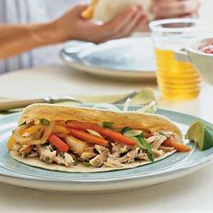 Chicken Fajitas   Classic Tex-Mex Chicken fajitas are a festive and flavorful main for easy weeknight dinners. Divide up the ingredients and all the toppings for a build-your-own, DIY fajita bar party at home: simply set out the rotisserie chicken, fresh and vibrant veggies, and assorted optional toppings. Serve with rice and beans. Pro tip: To save even more time in the kitchen, try picking up a store-bought rotisserie chicken; it offers the flavor without all of the hassle.