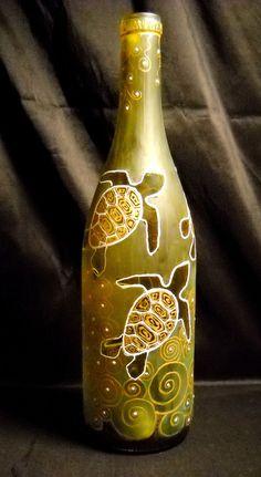 Hand Painted Art Bottle, Painted Vase Hand Painted Sea Turtles. $55.00, via Etsy.