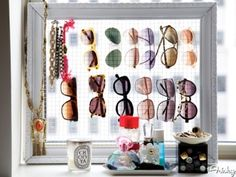 Frame with chicken wire for sunglasses storage