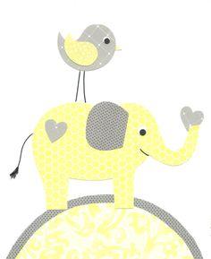 Yellow and Gray Nursery Elephant Nursery Print Girl nursery Jungle Nursery Girl's Room Art 8 x 10 or 11 x 14 Print Cute Nursery Art