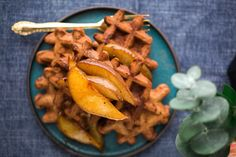 Simple and elegant vegan cocoa waffles with caramelized pears that are quick to whip up any weekend or a lazy weekend morning!
