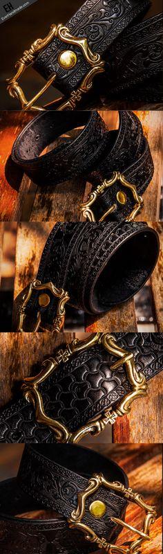 Handmade floral gift Leather tooled men vintage black belt