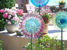 Garden Art Decoration Glass Plate Flower Upcycled by jarmfarm, $60.00