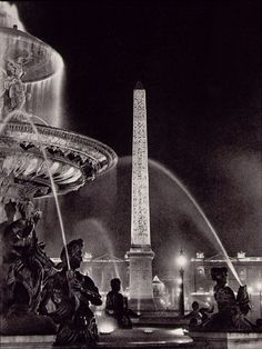 """Brassai (Gyula Halasz) Obelisk and fountains in the Place de la Concorde From """"Paris by Night"""" 1933"""