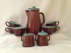 Country Fare Coffee Pot, Creamer, Sugar, and Six Cups Turquoise Brown Serve Set / Zanesville John B Taylor / Farmhouse Stoneware Pottery by ThePinkVintageRose on Etsy