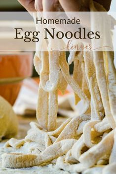 Comfort food at its best. An easy homemade egg noodle recipe that cooks up quick and tender. Great for homemade chicken and noodles. Homemade Chicken And Noodles, Homemade Pasta, Chicken Noodles, Homemade Cheese, Pasta Noodles, Homemade Dog, Crockpot Recipes, Cooking Recipes, Bisquick Recipes